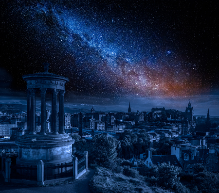 Edinburgh at night with milky way, Scotland