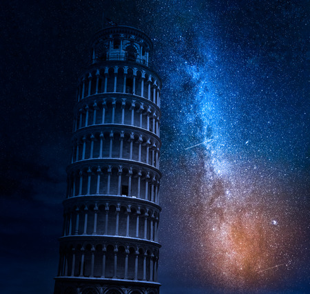 Leaning Tower of Pisaat night with milky way Stock Photo
