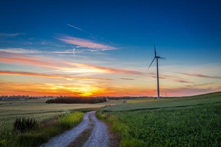 Stunning dusk over green field wind turbines in summer