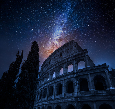 Beautiful Colosseum in Rome at night and milky way, Italy Reklamní fotografie
