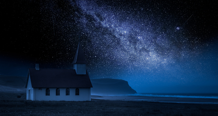 Small church on the beach at night with stars, Iceland  Reklamní fotografie