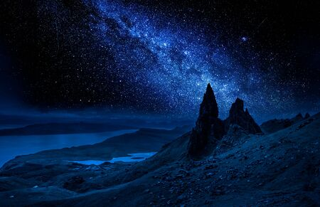 Milky way over Old Man of Storr at night, Scotland
