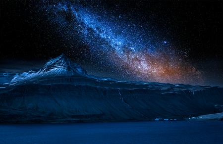 Volcanic mountain and milky way over fjord at night, Iceland Zdjęcie Seryjne - 93332130