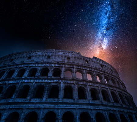 Stunning Colosseum in Rome at night with stars, Italy