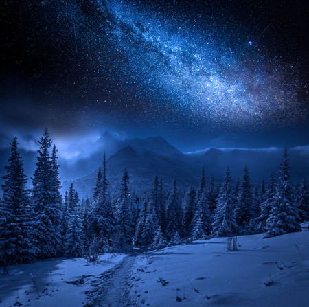 Milky way and Tatras Mountains in winter at night, Poland Foto de archivo
