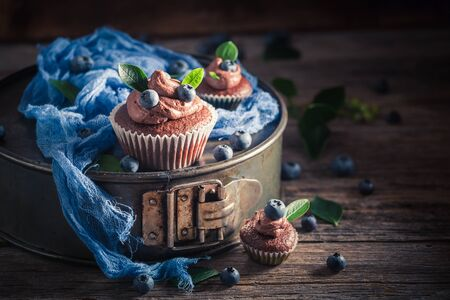 Brown cupcake made of fresh fruits on wooden table Banco de Imagens