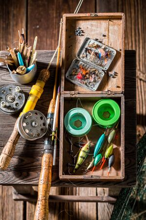 Handmade equipment for fishing with floats, hooks and rods
