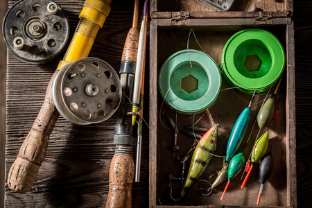 Handmade fishing tackle with fishing rod and lures 版權商用圖片