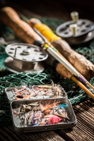 Handmade equipment for fishing with fishing rod and lures Banco de Imagens