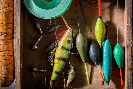 Handmade fishing tackle with floats, hooks and rods Stock Photo