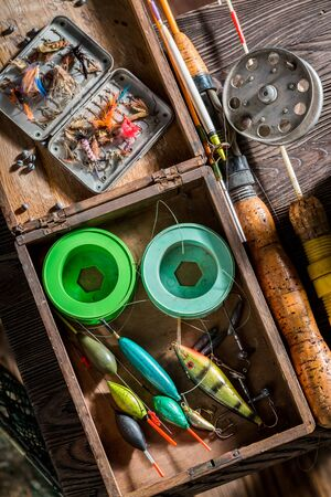 Old fishing tackle with floats, hooks and rods 版權商用圖片
