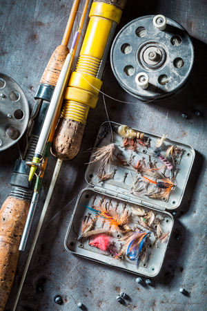 Vintage equipment for fishing with floats, hooks and rods