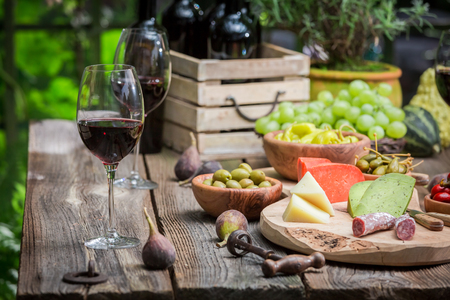 Garden table with cheese, red wine in the evening
