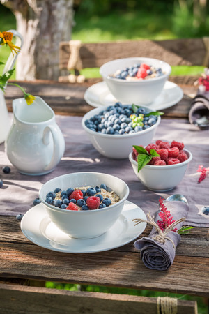 Breakfast in garden with berry fruits and milk