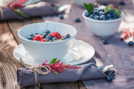 Healthy breakfast with raspberries and blueberries in garden Stock Photo