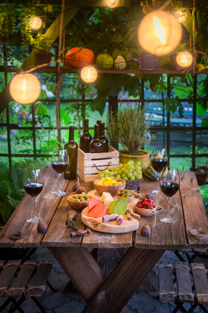 Preparation for dinner with snacks and wine in the evening Zdjęcie Seryjne