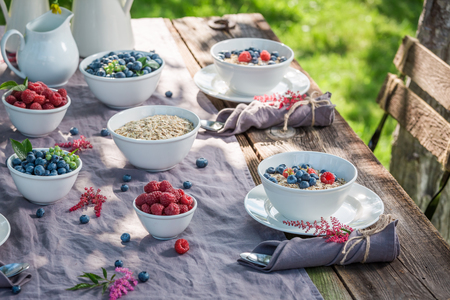 Tasty granola with raspberries and blueberries in sunny day