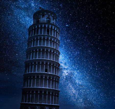 Milky way and leaning Tower of Pisa at night Stock Photo