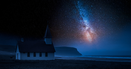 Small church by sea in Iceland with stars at night Reklamní fotografie