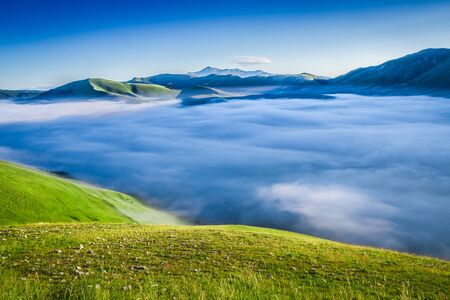 Stunning dawn in the mountains at Castelluccio, Umbria, Italy Stock Photo