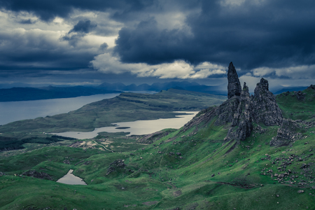 Cloudy day over Old Man of Storr, Scotland