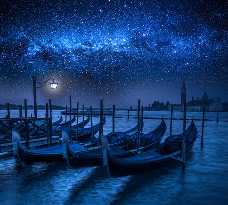 Grand Canal in Venice with stars, Italy Stock Photo