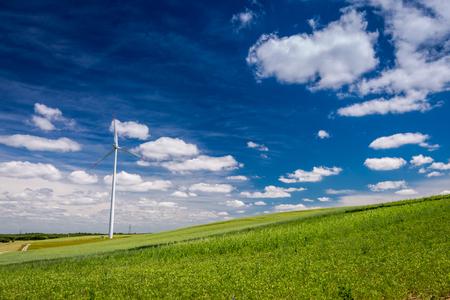Wind turbines on green field in summer as alternative energy
