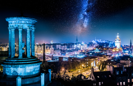 Night view from Calton Hill to Edinburgh with stars Stok Fotoğraf