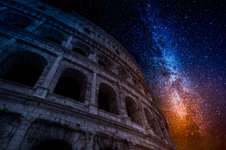 Milky way and Colosseum in Rome at night, Italy