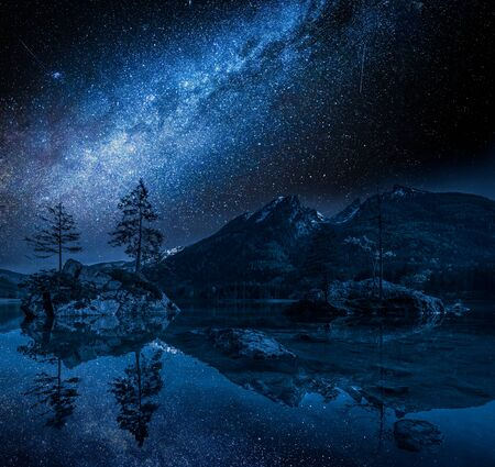 Hintersee lake in Alps at night with stars, Germany