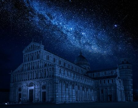 Milky way and ancient monuments in Pisa at night, Italy