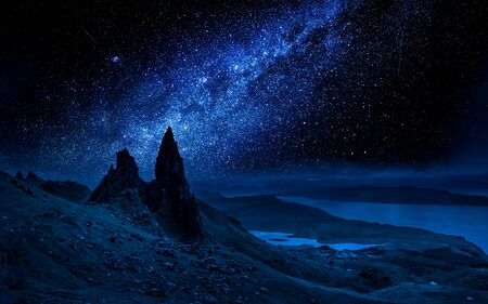 Old Man of Storr at night with milky way, Scotland