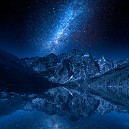 Milky way and lake in the Tatra Mountains, Poland, Europe