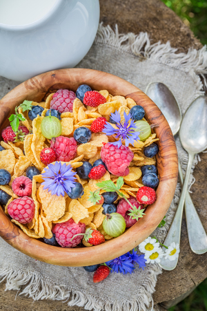 Tasty cornflakes and yogurt with flowers in sunny day Reklamní fotografie