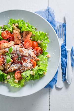 Classic Caesar salad made of fresh ingredients