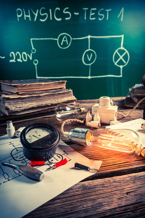 Physics class rooms with Edison light bulb and electrical diagram Stock Photo