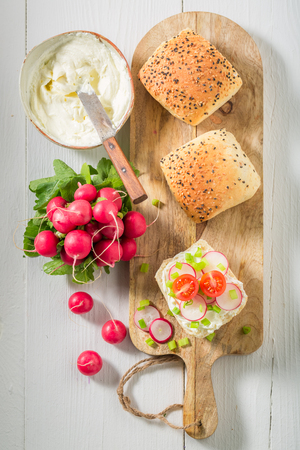 Fresh sandwich with crunchy bread, fromage cheese and radish Stok Fotoğraf