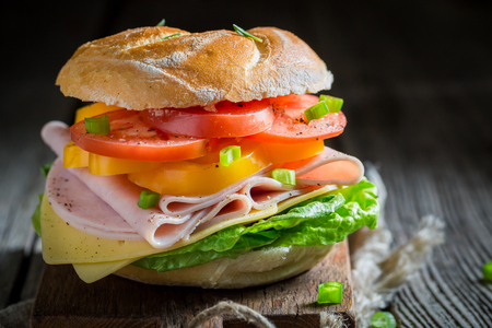 Crisp sandwich with vegetables and ham in the morning