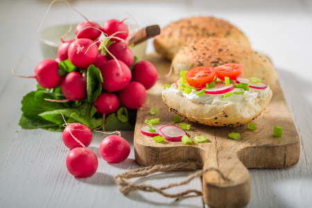 Tasty sandwich with crunchy bread, fromage cheese and radish Stok Fotoğraf