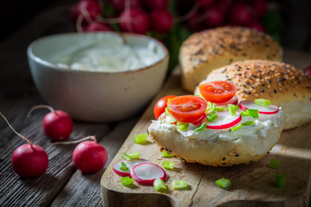 Healthy sandwich with fromage cheese and cherry tomatoes