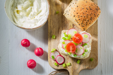 Bio sandwich with crunchy bread, fromage cheese and radish Stok Fotoğraf