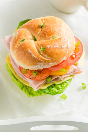 Healthy sandwich with fresh ingredients for breakfast Stock Photo