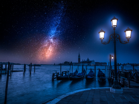 Grand Canal and milky way in Venice, Italy