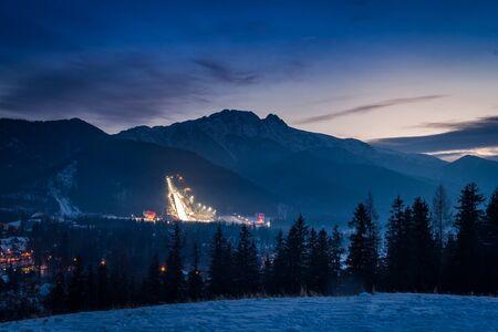 Winter in Zakopane at sunset, Tatra Mountains, Poland Stock Photo