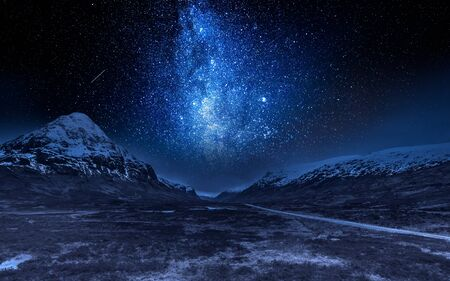 Milky way and highlands in Scotland at night Stock Photo