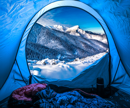 Camping in the Tatra Mountains in winter