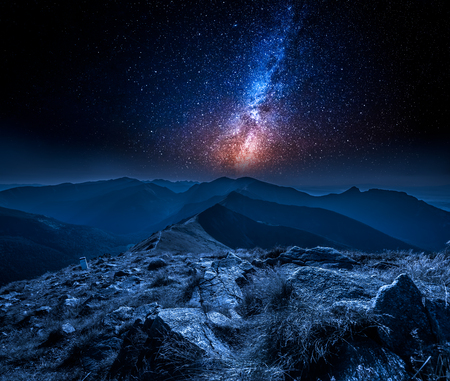 Stunning milky way in mountains at night in Poland