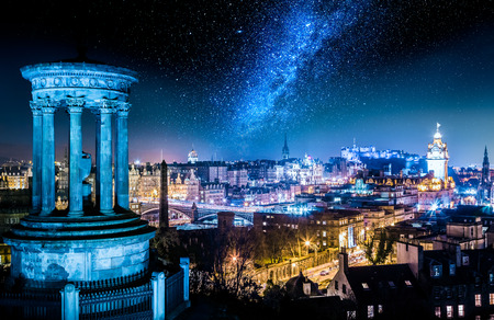 Night view with stars from Calton Hill to Edinburgh, Scotland Stock Photo