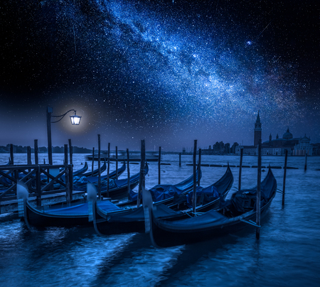 Grand Canal and stars at night in Venice, Italy
