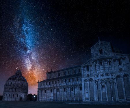 Milky way and ancient monuments in Pisa, Italy